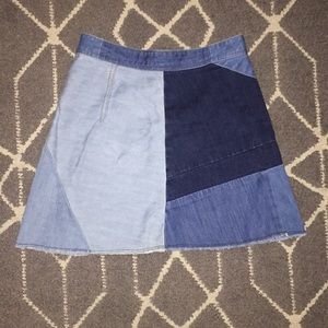 Geometric denim skirt